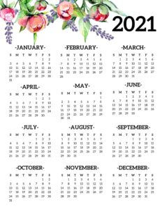 Printable 2021 PDF Calendar