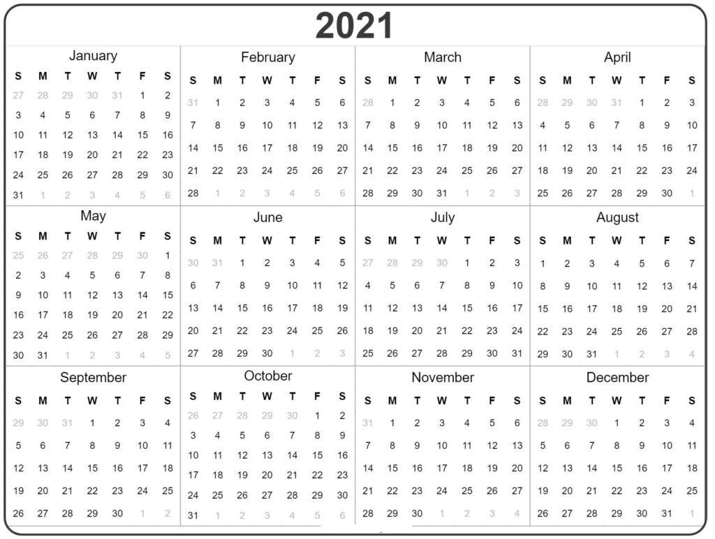 Free Blank Printable Yearly 2021 Calendar Template Pdf Your Printable Calendar