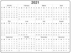 Editable Printable Calendar 2021