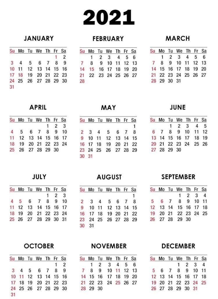 Printable 2021 Editable Calendar