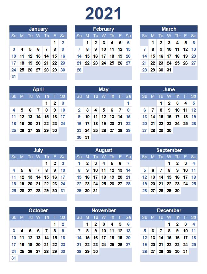 Free Yearly 2021 Printable Calendar