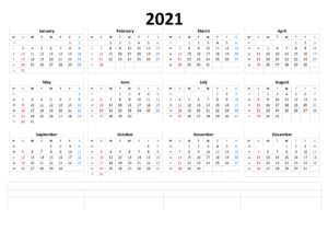Printable 2021 Monthly Calendar