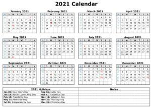 Printable Calendar 2021 with Holidays 1 pdf