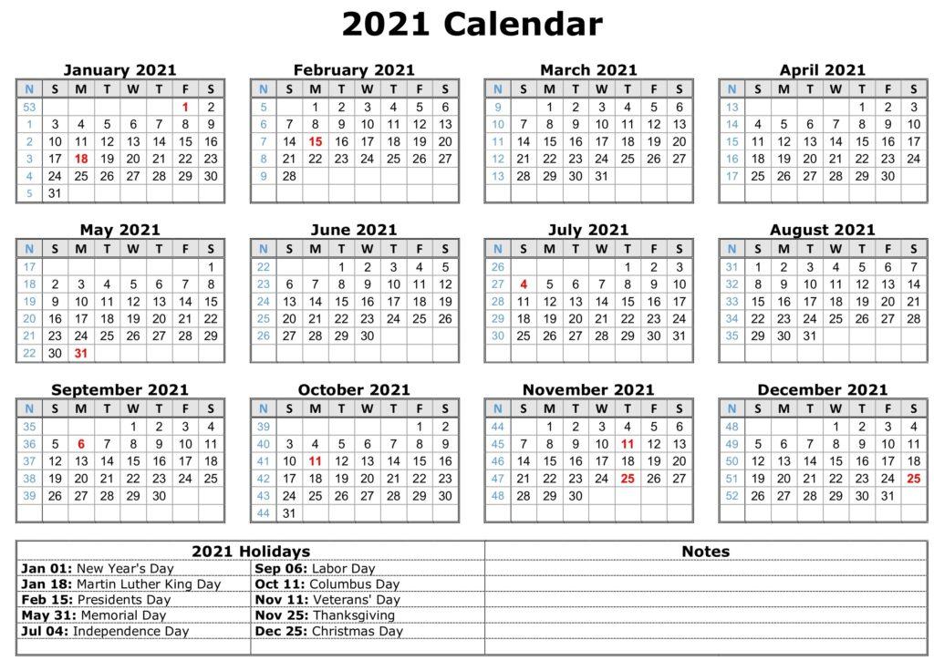 2021 Printable Calendar With Holiday