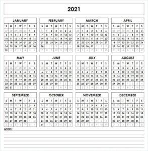 Blank Printable Calendar 2021 Template
