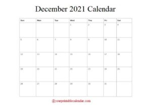 2021 December Calendar pdf