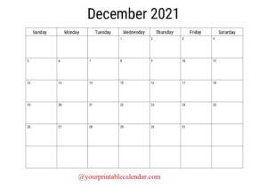 December 2021 Blank Calendar pdf
