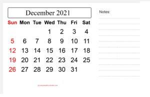 December 2021 Calendar With Notes