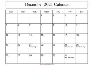 December 2021 Calendar with Holidays pdf