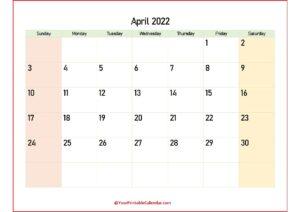 2022 April Calendar PDF pdf