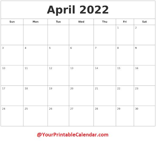April 2022 Blank Calendar