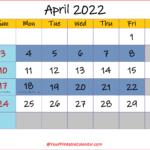 April 2022 CalendarEditable
