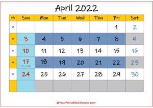 April 2022 Calendar Editable pdf