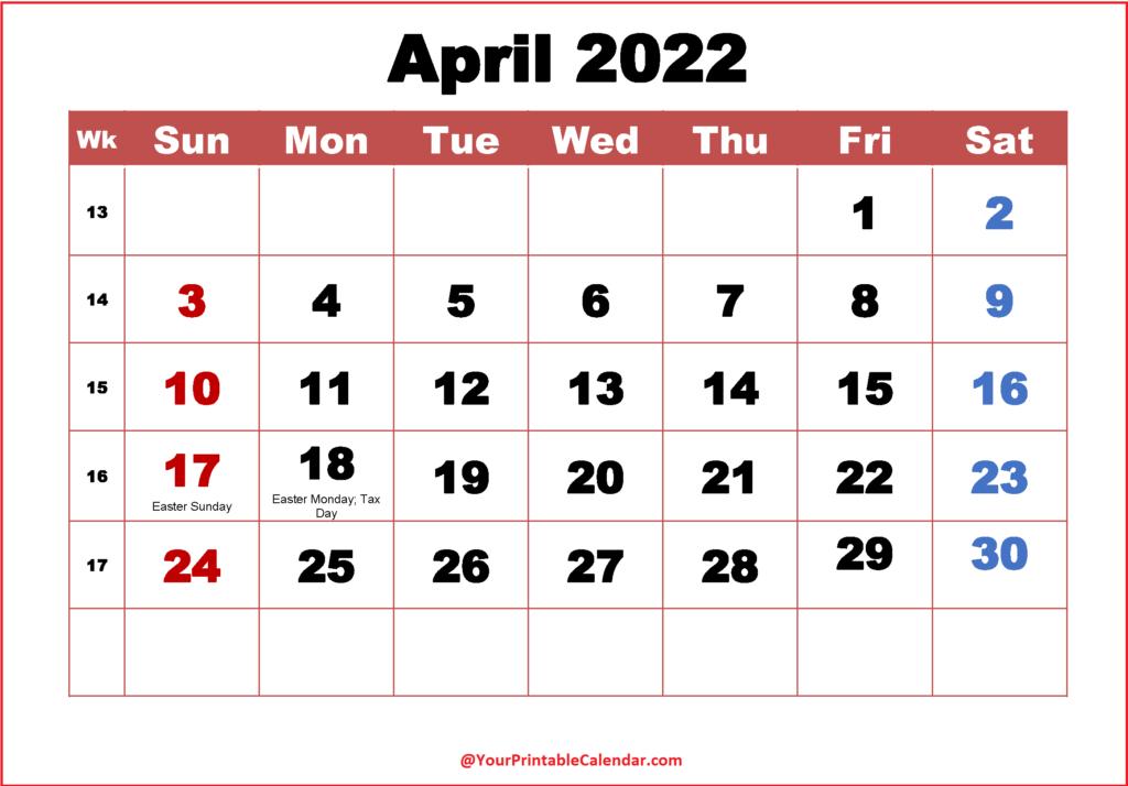April Calendar 2022