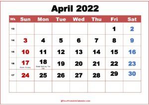 April Calendar 2022 pdf