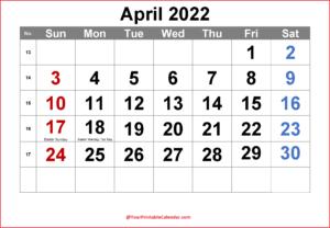April Calendar 2022 with Holidays