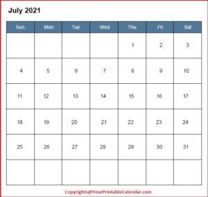 July 2021 Editable Calendar