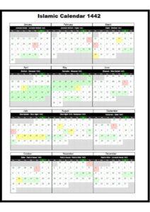 Hijri Calendar 1442 pdf