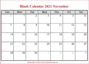 Blank Calendar 2021 November
