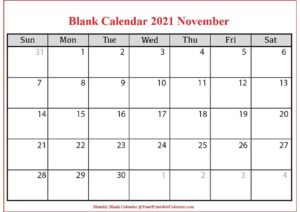 Blank Calendar 2021 November pdf