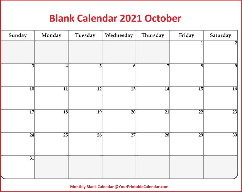 Blank Calendar 2021 October