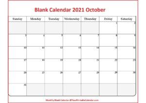 Blank Calendar 2021 October pdf