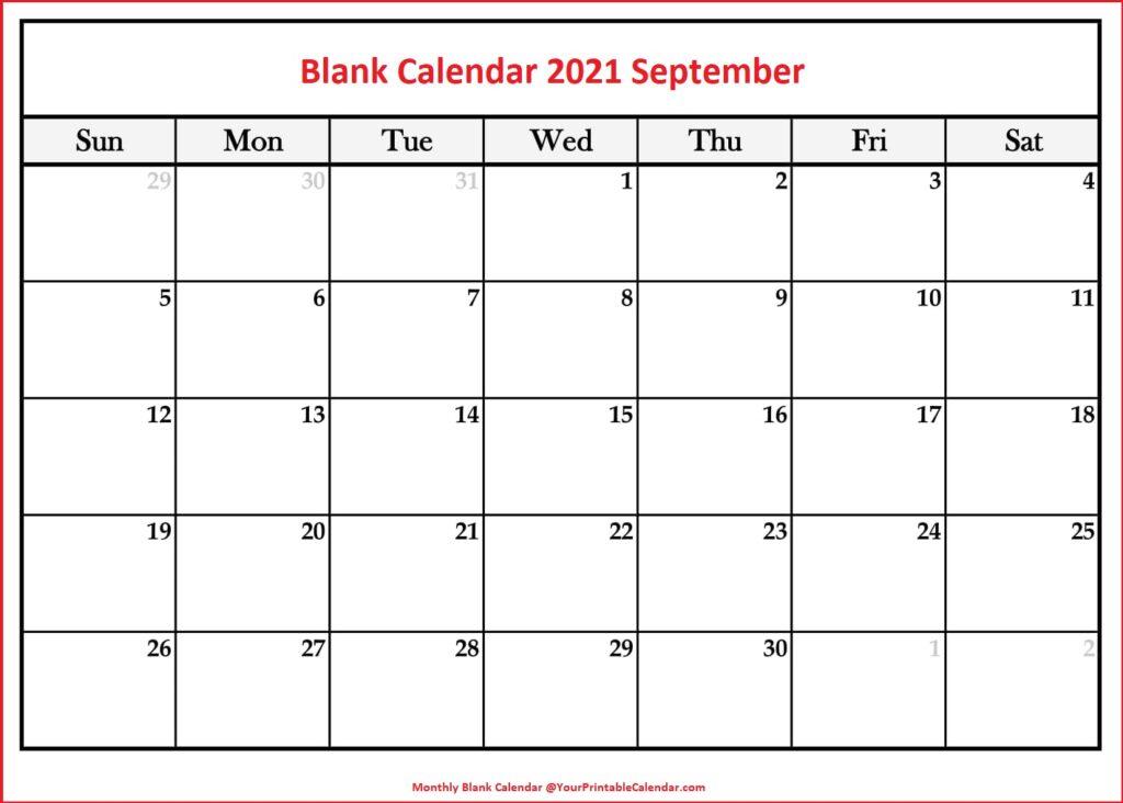 Blank Calendar 2021 September