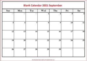 Blank Calendar 2021 September pdf