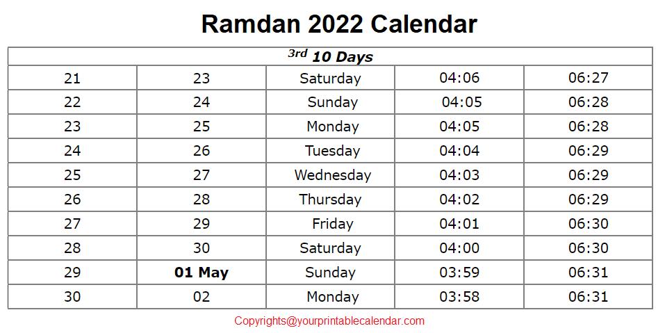 Islamic Ramadan Calendar 2022