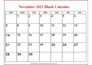 November 2021 Blank Calendar pdf