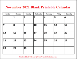 November 2021 Blank Printable Calendar