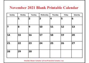 November 2021 Blank Printable Calendar pdf