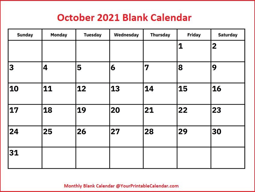 October 2021 Blank Calendar