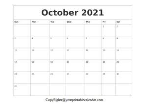 October Blank Calendar 2021 pdf