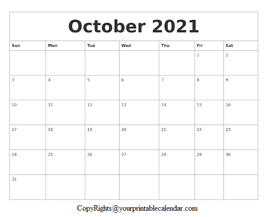 October Blank Calendar 2021