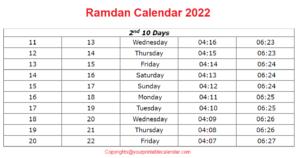 Ramadan Calendar 1442