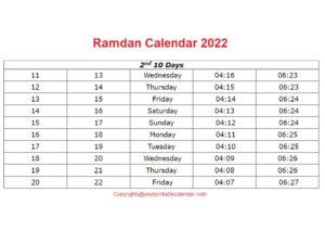 Ramadan Calendar 1442 pdf