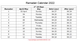 Ramadan Calendar 2022