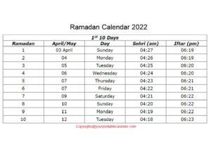Ramadan Calendar 2022 pdf