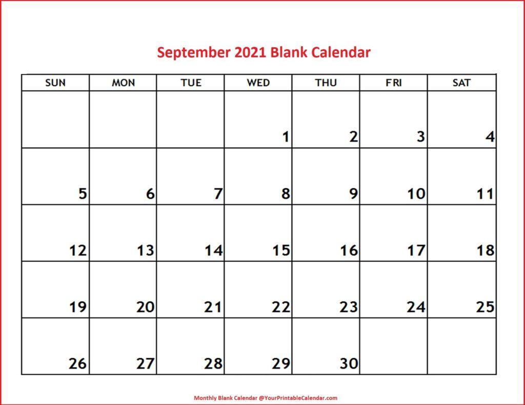 September 2021 Blank Calendar