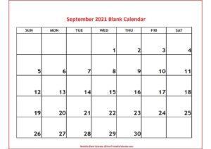 September 2021 Blank Calendar pdf