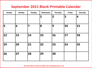 September 2021 Blank Printable Calendar