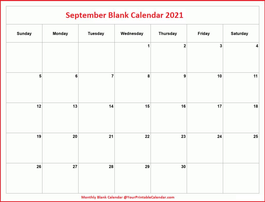 September Blank Calendar 2021