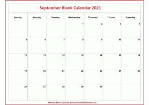 September Blank Calendar 2021 pdf
