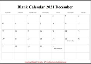 Blank Calendar 2021 December pdf