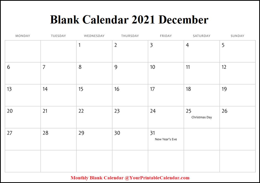 Blank Calendar 2021 December