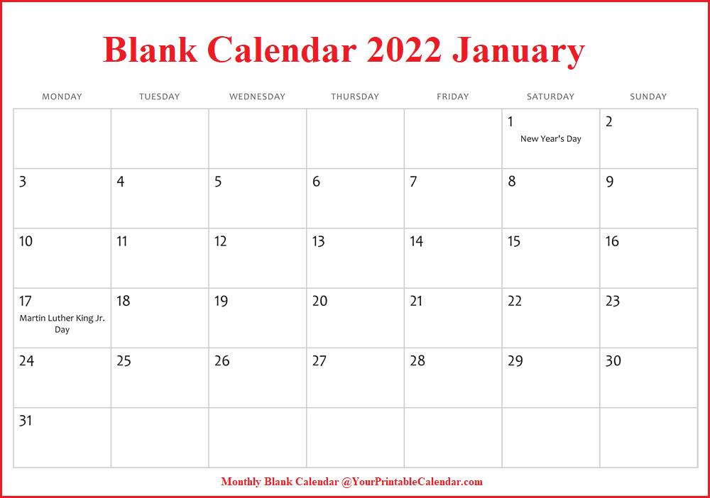 Blank Calendar 2022 January