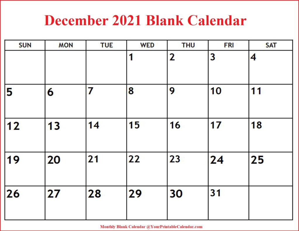 December 2021 Blank Calendar