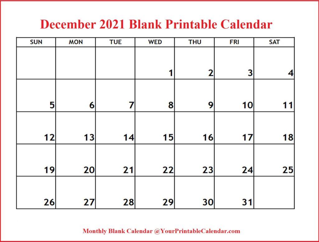 December 2021 Blank Printable Calendar