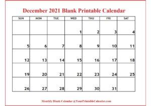 December 2021 Blank Printable Calendar pdf